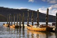 Boats Docked On A Pier, Keswick, Cumbria, England