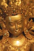 Asian Art, Close-Up Of Exotic Golden Sculpture