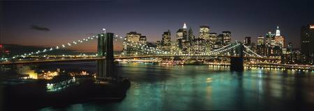 Brooklyn Bridge And Lower Manhattan At Dusk From M