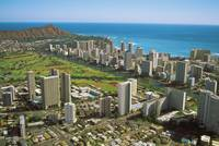 Hawaii, Oahu, Aerial View Of Diamond Head, Waikiki