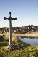 Cross On A Hill Overlooking Town Alnmouth, Northu