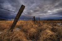 Barbed Wire Fence Posts With Dark Sky In Backgroun