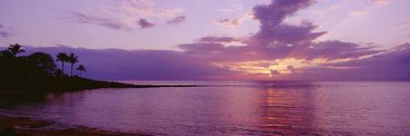 Hawaii, Maui, Kapalua Beach, Purple Sunset Over Oc