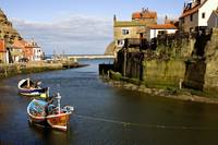 Moored Boats In Staithes, North Yorkshire, England