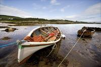Rowboats Tied To Shore, Ardminish, Isle Of Gigha,