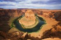 Arizona, Near Page, Landscape Of Horseshoe Bend An