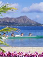 Hawaii, Oahu, Waikiki, Diamond Head, Canoe Paddler