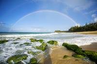Hawaii, Maui, Double Rainbows Over Baldwin Beach
