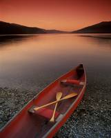 Canoe At Edge Of Mountain Lake, Shuswap, British C
