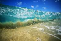 Hawaii, Turquoise Breaking Wave, Sand Visible Thro