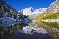 Colorado, Near Aspen, Landscape Of Maroon Lake And