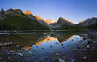 Lake O'hara And Mountains At Sunset, British Colu