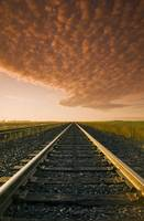 Railway At Sunrise, Near Winnipeg, Manitoba, Canad