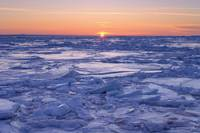 Ice Floe At Sunset, Gaspesie Region, Bonaventure,