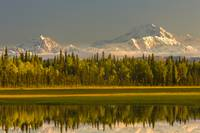 Scenic view of Mt. McKinley and Mt. Hunter seen fr