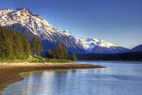 Scenic view of a lake and mountains near Haines, A