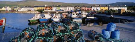 Fishing Boat Moored At A Portmagee Harbor, Ring Of