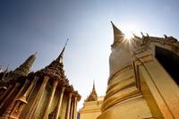 Low Angle View Of The Grand Palace In Bangkok Ban