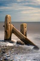 Old Post In Sea, Humberside, England