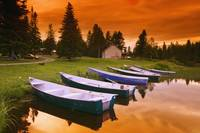 Boats And Cottage At Dusk, Rimouski Lake, Quebec,