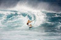 Hawaii, Maui, Ho'okipa, Kitesurfer On Wave, Spray