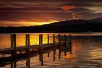 Sunset Over Dock At Lake Windermere Ambleside, Cu