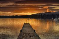Dock On Lake Windermere At Sunset Ambleside, Cumb