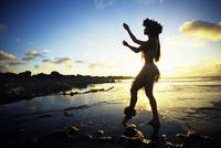 Hawaii, Female Hula Dancer On Beach, Silhouetted B