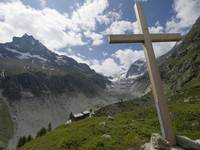The Cross Above The Cabin De Petit Mountet Refuge