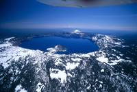 Oregon, Crater Lake, Aerial Overview, Snow Scatter