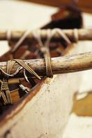 Old Wooden Outrigger Canoe, Detail Of Aku Tightly