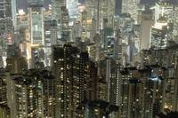 Elevated View Of Apartment Blocks At Night Hong K