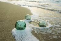 Three Glass Fishing Floats Roll On The Sandy Shore
