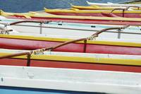 Hawaii, Oahu, Lineup Of Colorful Outrigger Canoes