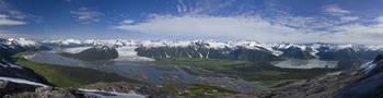 Aerial view of Taku River, Taku Glacier, Twin Glac