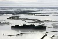 Aerial of flood plains east of Big River Lake, Sou