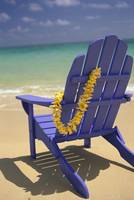 Blue Beach Chair With Plumeria Lei Hanging On Side