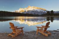 Muskoka Chairs In Front Of Mt Rundle And Two Jack