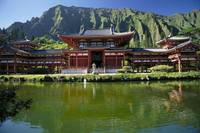 Hawaii, Oahu, Kahaluu, Byodo-In Temple With Pond F