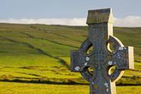 Celtic Cross In A Cemetery Fanore, County Clare,