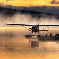 """Floatplane sitting on Beluga Lake, Homer, Kenai Pe"" by DesignPics"