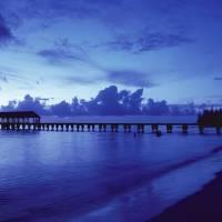 """Hawaii, Kauai, Hanalei Bay, Pier At Twilight"" by DesignPics"