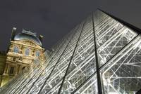 The Glass Pyramid And The Louvre At Dusk Paris, F