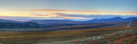 Sunset Along The Dempster Highway, Near The Northw