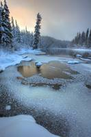 Morley River In Winter Near Teslin, Yukon, Canada