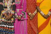 India, Detail Of Hands Four Women In Saris