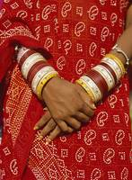 Detail Of Hands And Sari Of Woman, Close Up