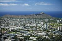 Hawaii, Oahu, Diamond Head And Waikiki From Tantal
