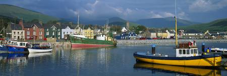 Boats Moored At A Harbor, Dingle Harbor, County Ke