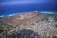 Hawaii, Oahu, Aerial View Of Diamond Head And Waik